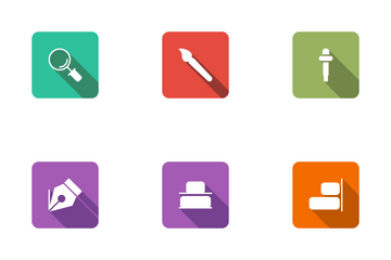 Design Flat Square Rounded Shadow Icon Pack