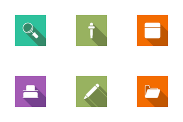 Design Flat Square Shadow Icon Pack