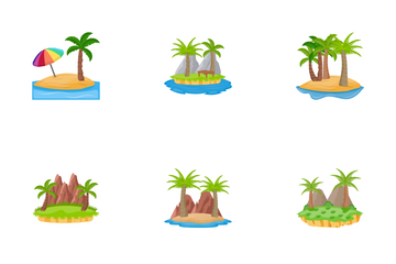 Different Scenes Of Islands Icon Pack