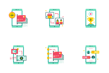 Digital Banking Flat - Fast Transfer Icon Pack