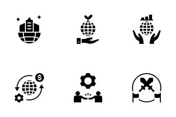 Digital Globalization Glyph Icon Pack