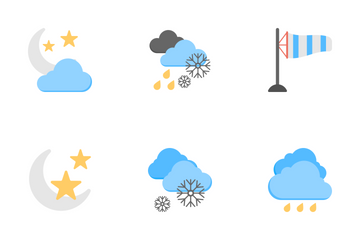 Disaster And Weather Conditions Flat Icons Icon Pack