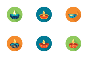 Diwali Lamp At Night Icon Pack