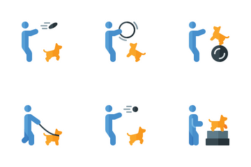Dog Training With Coach Icon Pack