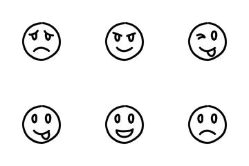 Doodle Emoticon Line Icon Pack