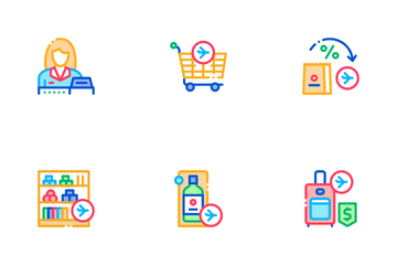 Duty Free Shop Store Icon Pack