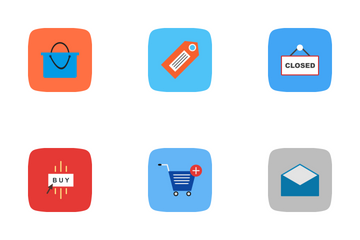 E Commerce Curve BG Icon Pack