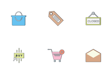 E Commerce Flat Outline Icon Pack