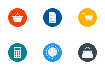 E Commerce Glyph Circle Icon Pack