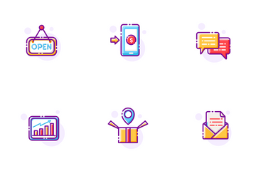 E-Commerce Line Color - Online Shopping Icon Pack