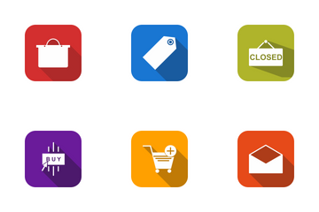 E Commerce Round Corner Shadowed Icon Pack