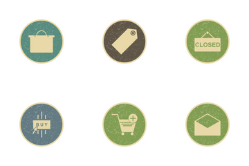 E Commerce Vintage Icon Pack