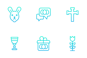 Easter - Outline Gradient Icon Pack