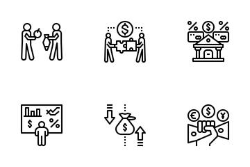 Economics Of Money And Finance Icon Pack
