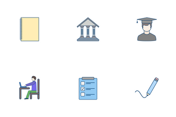 Education Flat Outline Icon Pack
