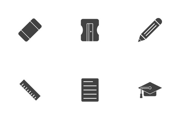 Education Glyph Black Icon Pack