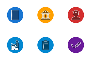 Education Glyph Circle Icon Pack