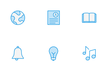 Education Line Blue Icon Pack