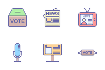 Election Color Shadow Icon Pack