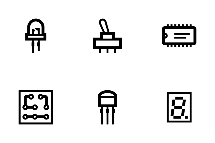 premium electronic components icon pack download in svg