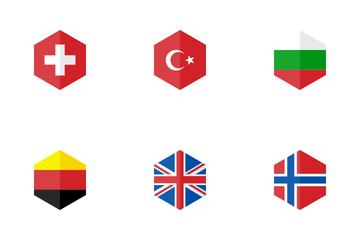 Europe Hexagon Flag Icon Pack