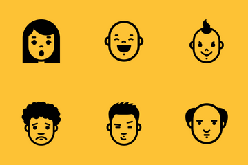 Face Expressions And Emotions Icon Pack