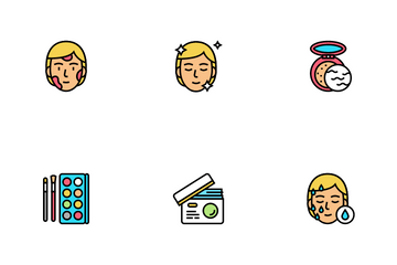 Facial Skin Care Treat Icon Pack