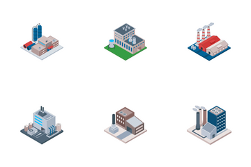 Factory And Industrial Building Icon Pack