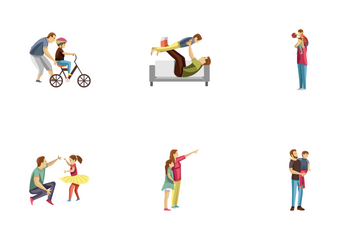 Fatherhood Child Rearing Characters Icon Pack