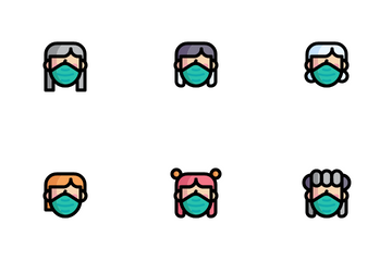 Female Facemask Icon Pack