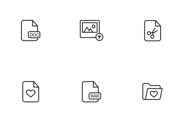 File And Folder Thinline Icon Pack