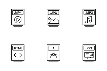 File Type Line Icons Icon Pack