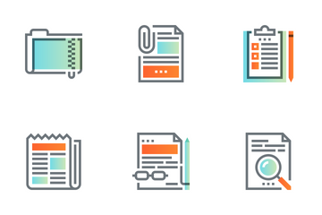 Files And Documents Flat Line Icon Pack
