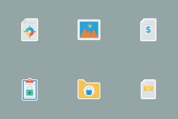 Files & Folders Flat Paper Icons Icon Pack