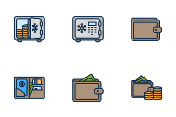 Finance Dark Lines Icon Pack