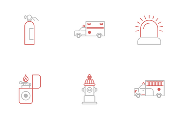 Firefighter And Fire Department Icon Pack