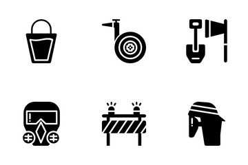 Firefighter Equipment Icon Pack