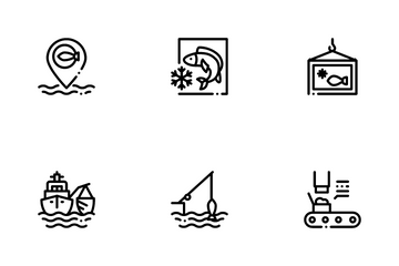 Fishing Industry Business Process Icon Pack