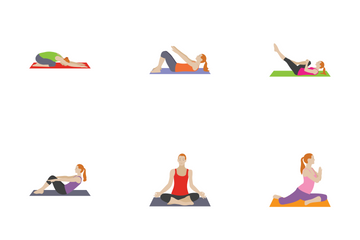 Fitness And Exercises Characters Icon Pack