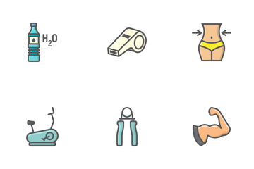 Fitness Filled Outline Icons Icon Pack