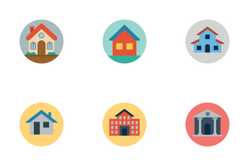 Flat Building Icons Icon Pack