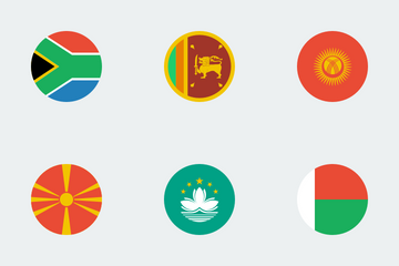 Flat Circle World Flags Icon Pack