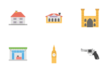 Flat City Map Elements Icon Pack