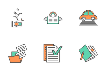 Flat Line Universal Elements Icon Pack