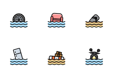 Flood Disaster Icon Pack