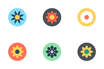 Flowers Flat Circular Icon Icon Pack
