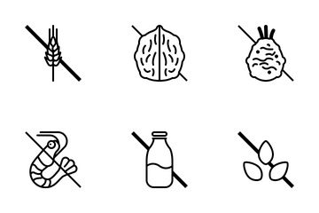 Food Allergens / Line (outline) Icon Pack