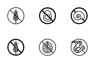Food Allergens (outline - Black) Icon Pack