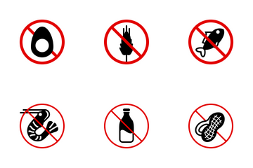 Food Allergens (simple - Red) Icon Pack