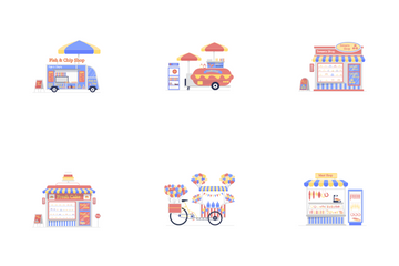 Food And Market Stall Icon Pack